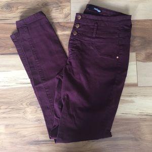 Refuge high waist three button skinny jeans
